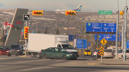 HD2009-3-1-1 traffic and jet landing in BG Stock Video Footage