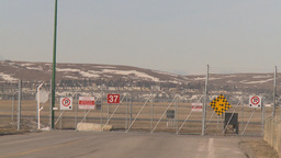 HD2009-3-1-7 aircraft taxing w fence Stock Video Footage