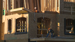 HD2009-3-2-1 condo construction workers Stock Video Footage
