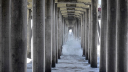 Waves Under Pier stock footage