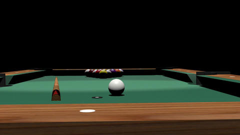 Pool Table And Pool Balls In 3D stock footage