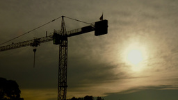 Construction Crane Silhouette With Sunset Sky stock footage