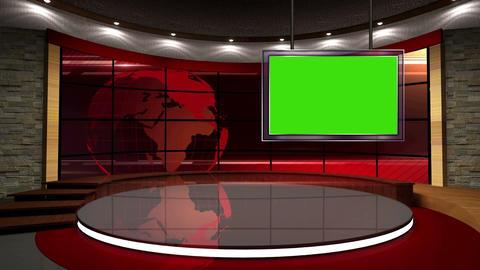News TV Studio Set 07 Virtual Green Screen Backgro stock footage