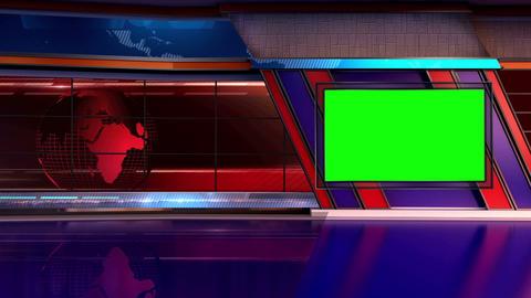 News TV Studio Set 11 Virtual Green Screen Backgro stock footage