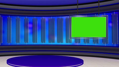 News TV Studio Set 22 Virtual Green Screen Backgro stock footage