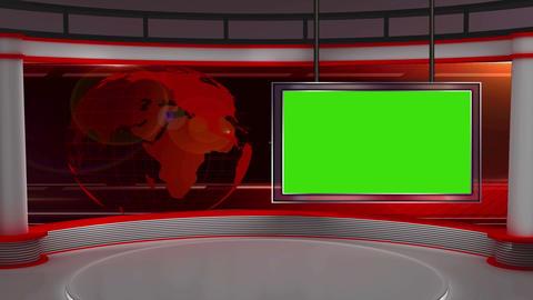 News TV Studio Set 26 Virtual Green Screen Backgro stock footage