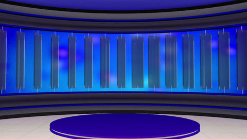 News TV Studio Set 21 Virtual Green Screen Backgro stock footage