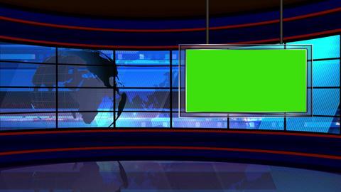 News TV Studio Set 23 Virtual Green Screen Backgro stock footage
