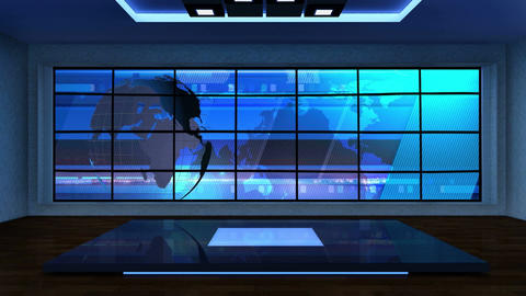 News TV Studio Set 08 Virtual Green Screen Backgro stock footage