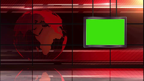 News TV Studio Set 19 Virtual Green Screen Backgro stock footage