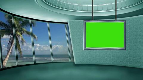 News TV Studio Set 20 Virtual Green Screen Backgro stock footage