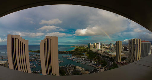 4K Timelapse of Honolulu, Hawaii, Fisheye Footage