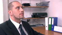 Scary Look On Business Man In Office stock footage