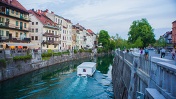 Ljubljana River Tourist Boat stock footage