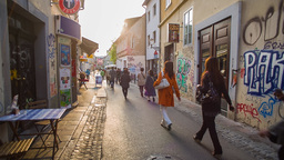 Walking Path In City With A Lot Of People stock footage