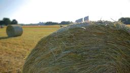 Hay Bales At Sunset Jib Shot stock footage