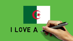 Hand paints ALGERIA flag & scribbles I LOVE ALGERI Animation