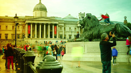 LONDON - AUG 3 2014: Many tourists walking in Traf Footage