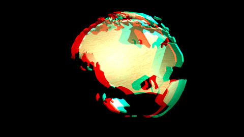 Digital animation of a rotating Earth Globe, stere Animation