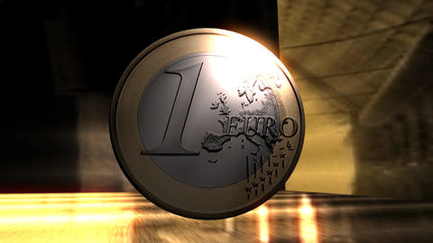 Digital Animation Of A Euro Coin stock footage