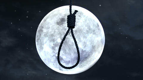 Hanging noose with the moon in the background Animation
