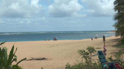 Few people only at idyllic beach on Kauai Island,H Live Action