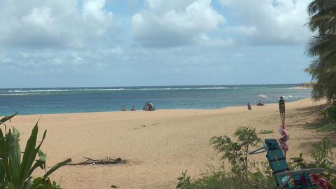 Few people only at idyllic beach on Kauai Island,H Footage