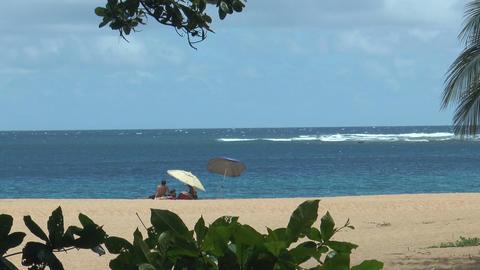 Relaxing at romantic beach on Kauai Island,Hawaii Footage
