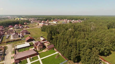 Flying Over The Village In Summer stock footage