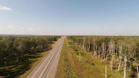 Flying Over The Road Aerial Shot. Road Aerial View stock footage