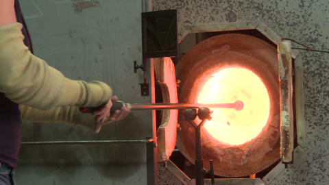Glass blowing in studio Live Action