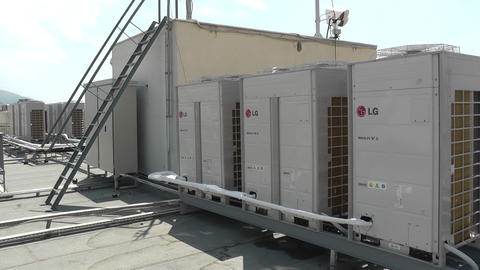 HVAC Air conditioning units at building roof Footage
