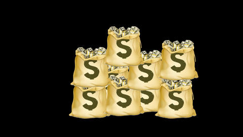 Money Bags Animation Alpha stock footage
