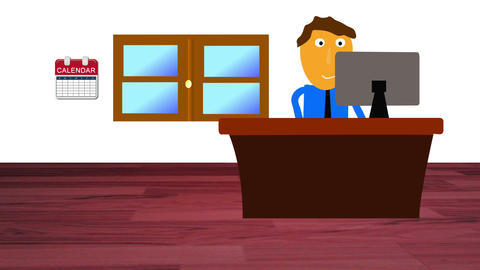 Character At Office stock footage