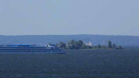 River cruise ship sailing on the river Dnieper, Uk Footage