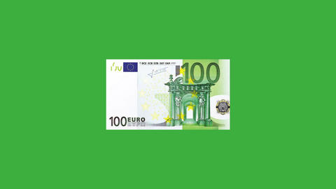 Euro 100 bill emerging on a green screen Animation