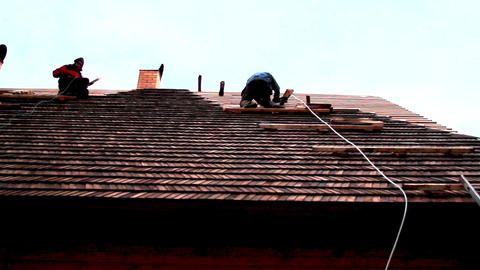 Roofers working on the roof Footage