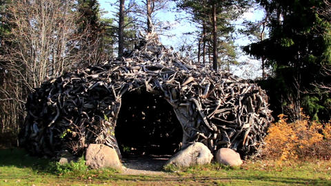 Witch house hut made out of big roots Footage