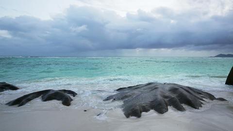 Beach And Rocks, Seychelles Footage