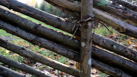 Old Wood Used As Fence stock footage
