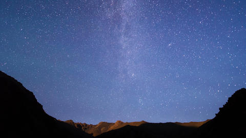 Light of the moon and the Milky Way. Time Lapse. 4 Footage