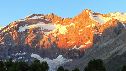 Mountain range in the morning. Time Lapse, Pamir,  Footage