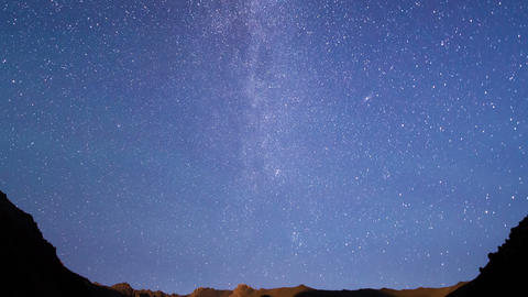 Milky Way in the mountains. Time Lapse Live Action