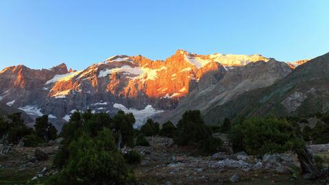 Mountains at dawn. Time Lapse, Pamir, Tajikistan.  Footage