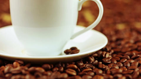 Coffee Beans And Coffee Cup stock footage