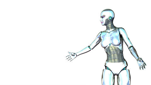 Robot Girl With Display stock footage