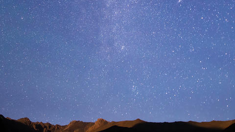 Milky Way Over The Ridge. Time Lapse stock footage