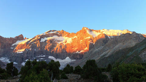 Morning light in the mountains. Time Lapse, Pamir, Footage