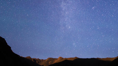 Stars over the mountains. Time Lapse. 1280x720 Footage