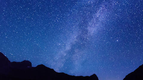 Milky Way hides dawn. Time Lapse Footage